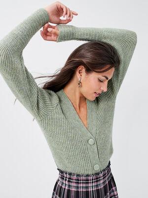 Gilet manches longues boutonne vert pastel femme