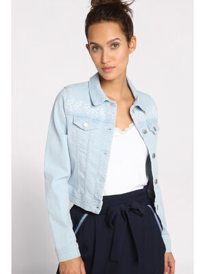 Veste en jean courte brodee denim bleach femme