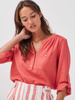Blouse manches 34 lin rose femme