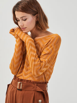 Pull ajoure col rond jaune moutarde femme
