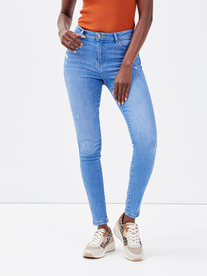 Jeans skinny 78eme destroy denim baby bleu femme