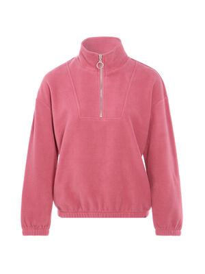 Sweat polaire col zippe vieux rose femme