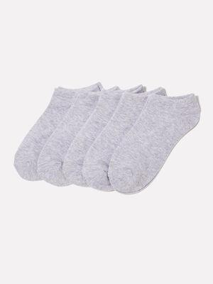 Lot de 5 paires chaussettes unies gris clair femme