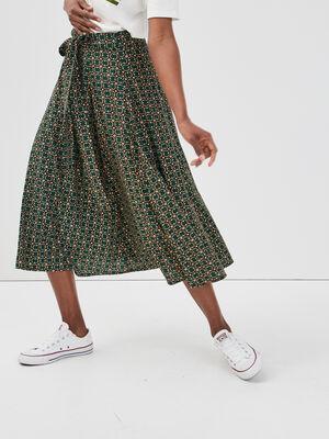 Jupe longue evasee avec noeud vert femme