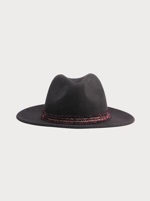Chapeau bande a franges noir femme