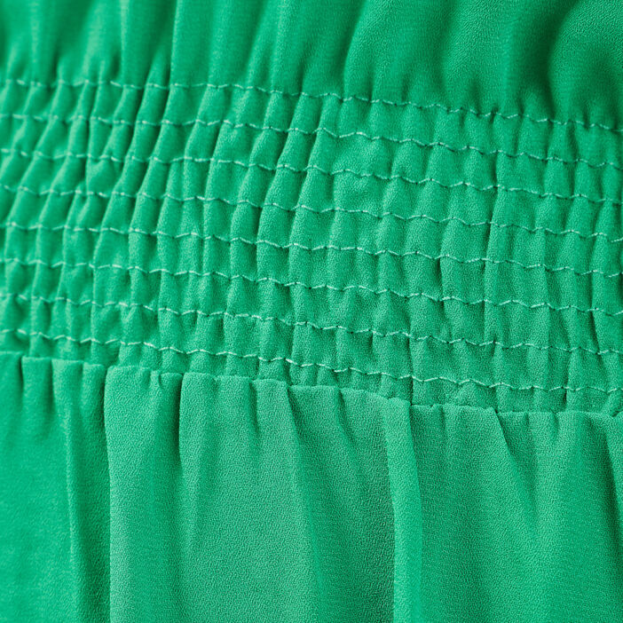 Robe longue évasée volantée vert menthe femme