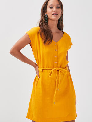 Robe droite lin jaune or femme