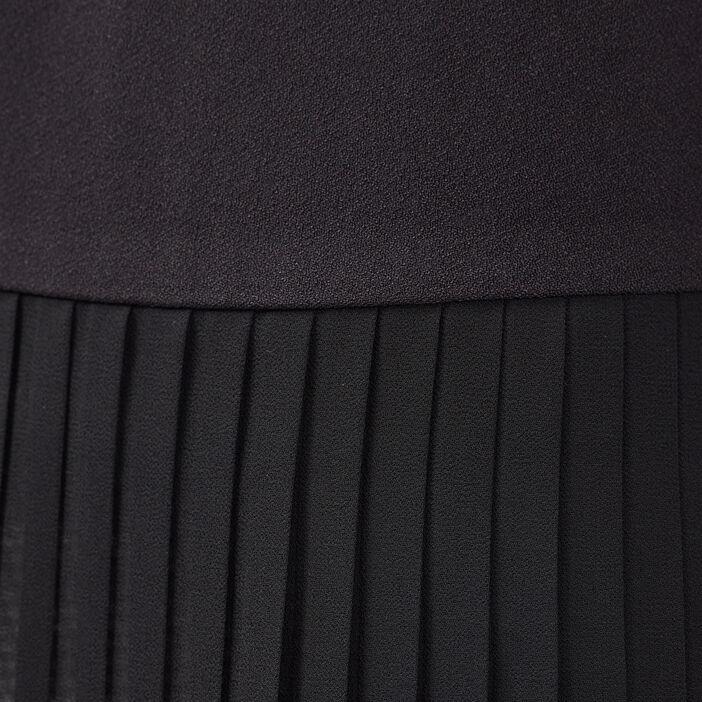 Veste droite fluide plissée noir femme