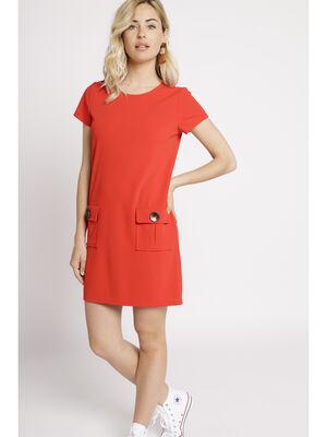 Robe droite courte a poches rouge femme