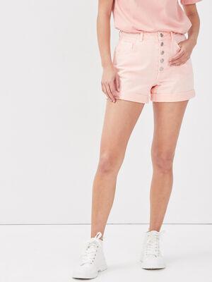 Short ample boutonne en jean orange femme
