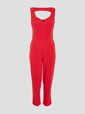 Combinaison pantalon droite rouge femme