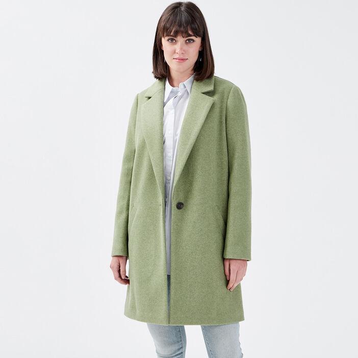 Manteau droit boutonné vert kaki femme