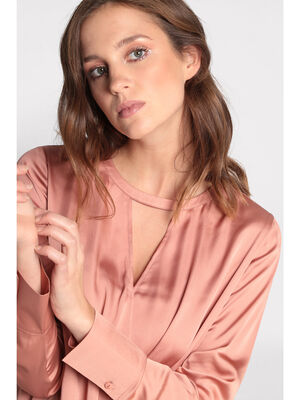 Blouse manches longues satinee rose poudree femme