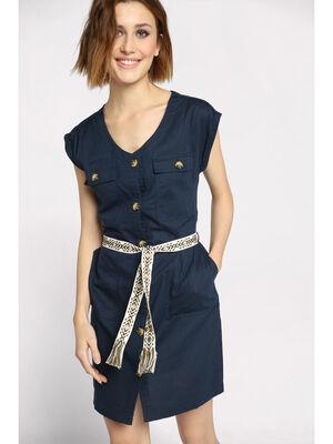 Robe chemise ceinturee bleu marine femme