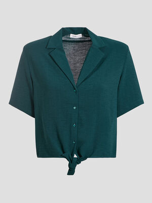 Chemise manches courtes vert fonce femme