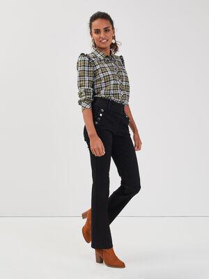 Jeans bootcut a pont denim noir femme