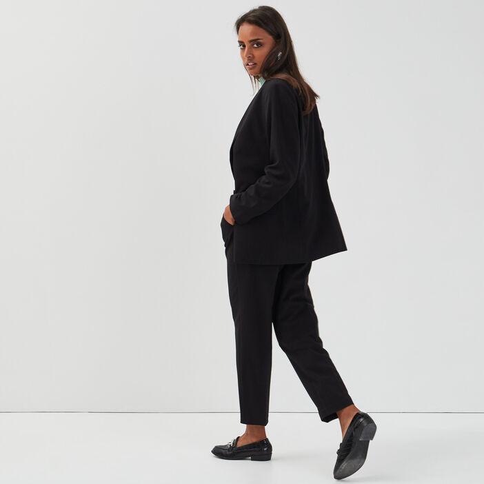 Veste blazer droite col châle noir femme