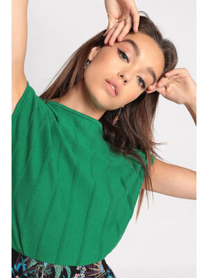 Pull manches courtes plisse vert fonce femme