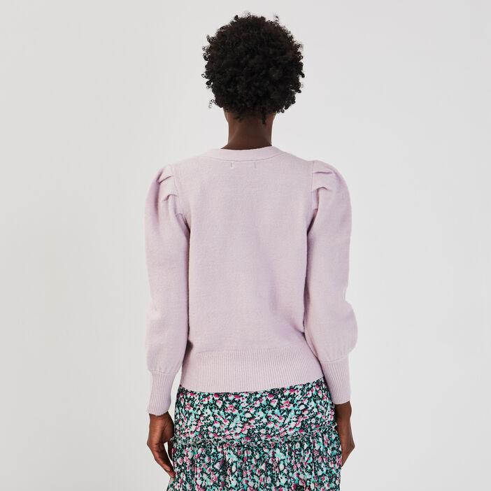 Gilet avec épaules froncées violet clair femme