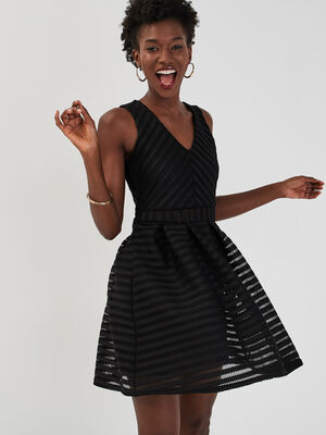 Robe evasee details ajoures noir femme