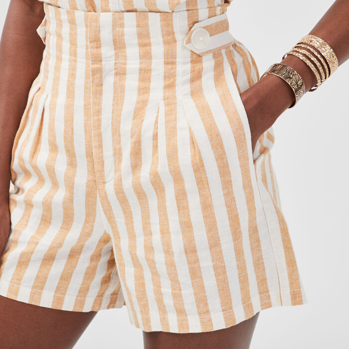 Short ample pattes boutonnées blanc femme