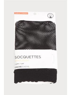 Paire socquettes resille noir femme