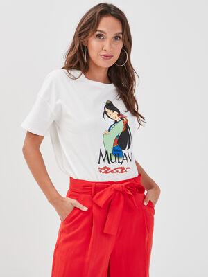 T shirt manches courtes Mulan ecru femme