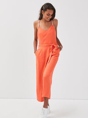 Combinaison pantalon lin orange corail femme