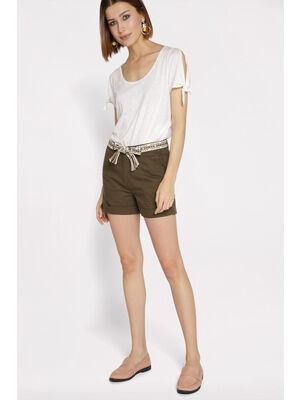 Short droit ceinture vert kaki femme