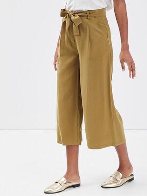 Pantalon large ceinture vert olive femme