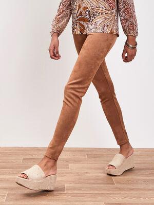 Pantalon etroit taille haute beige femme