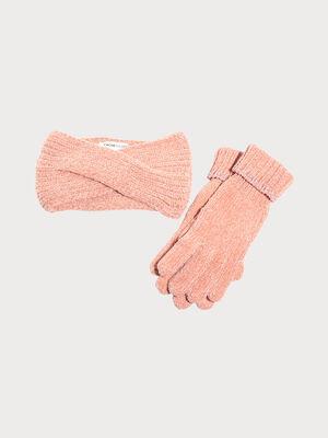 Lot gants et bandeau tricotes rose femme