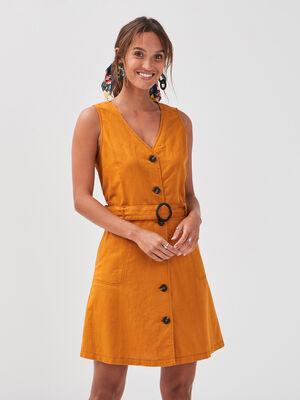 Robe evasee boutonnee lin jaune moutarde femme