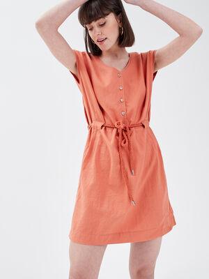 Robe droite lin terracotta femme
