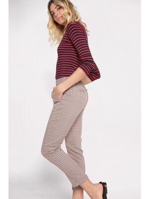 Pantalon droit taille haute beige femme