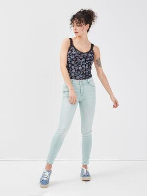 Jeans skinny vert turquoise femme