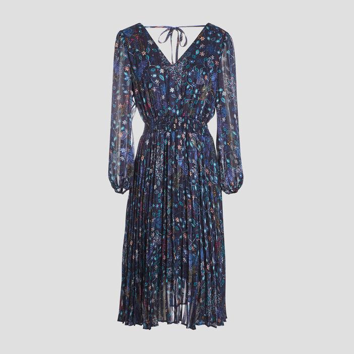 Robe longue évasée plissée bleu foncé femme