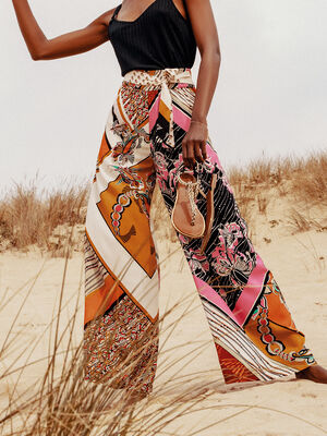 Pantalon large taille standard blanc femme