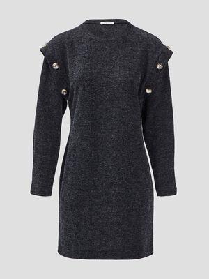 Robe pull droite avec boutons noir femme