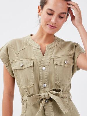 Robe droite ceinturee gris femme