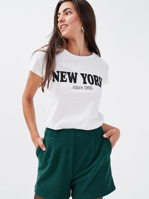 T shirt ajuste a message ecru femme