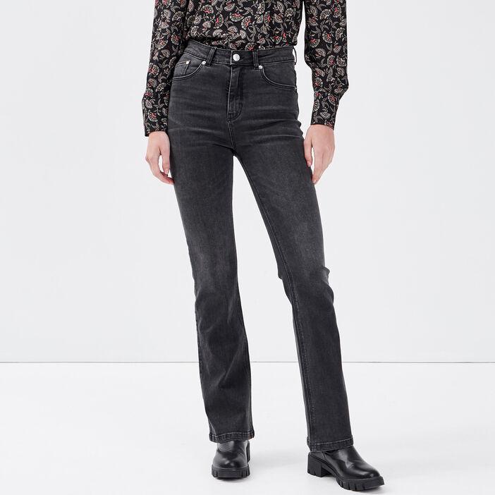 Jeans bootcut taille haute denim noir femme