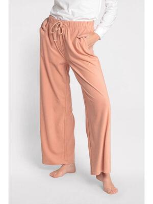 Bas pyjama effet velours orange fonce femme