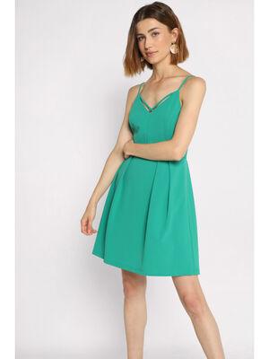 Robe courte evasee a bretelles vert emeraude femme