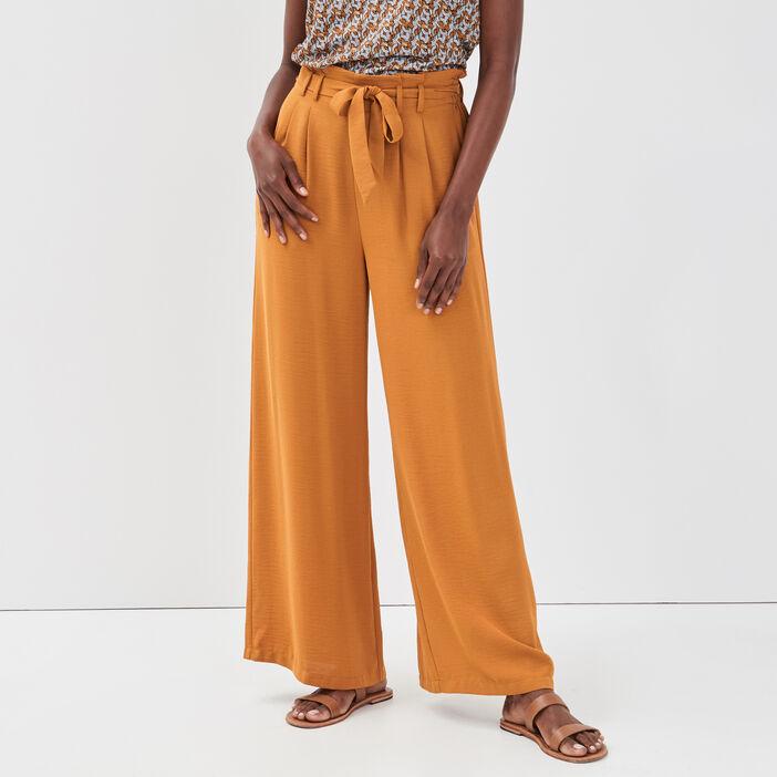 Pantalon large fluide camel femme