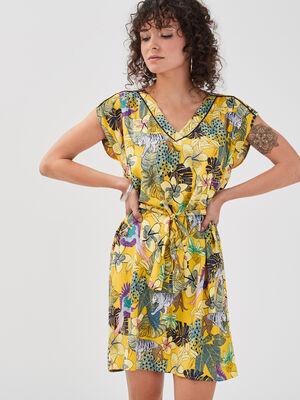 Robe droite ceinturee jaune femme