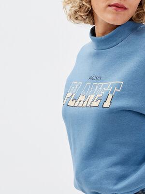 Sweat avec taille a coulisse bleu femme