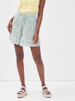 Short droit plisse bleu clair femme