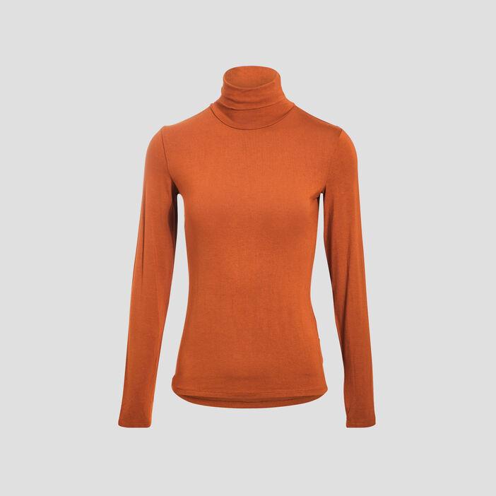T-shirts uni à manches longues marron clair femme