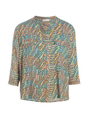 Chemise manches 34 bleu turquoise femme